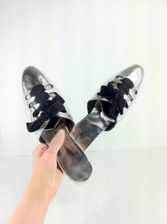 silver metallic slip on mules 6 lace up bedroom slippers 6