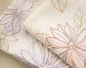 Japanese Off White Cotton Fabric With Embroidered Large Daisy Petal Flower in Light Purple Brown- 1/2 yard