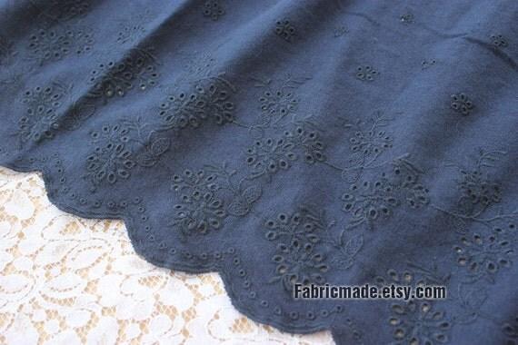 Navy Lace Fabric Eyelet Border Fabric Eyelet By Fabricmade
