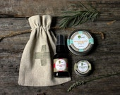 Outdoors Survival Kit . Muscle Relief Lotion Bar, Bug Oil, Skin Salve. rustic camping cabin