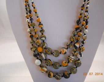 3 Row White, Black and Yellow Turquoise Bead Necklace