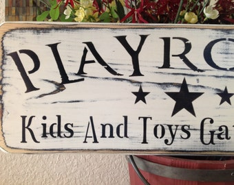 Play Room, Kids and Toys gather Here,  wood sign, primitive, vintage white, 20 in. nursery, children's room