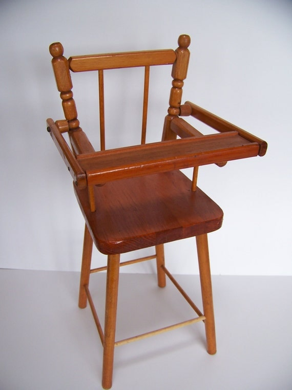 Vintage Wooden Doll High Chair By Lesaestes On Etsy