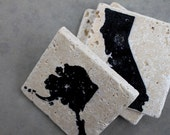 Stone Coasters - Set of 4 - United States, USA, States Outlines, Personalize