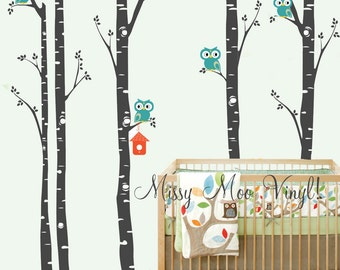 QUICK SHIP Birch Trees with Owls, Bird house,owl decal, Set of 5 Birch Birch Nursery Wall Vinyl Decal FREE application tool