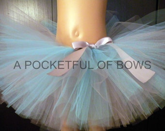 Silver and Light Blue Tutu Skirt