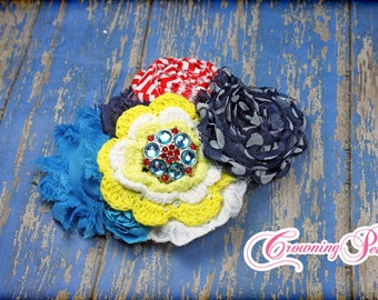 Red, Turquoise, Yellow, Navy Blue Headband, Hair Accessories, Baby Flower Hair Bow, Hair Clip, Baby Girl's Hair Piece, Blue Flower Headband