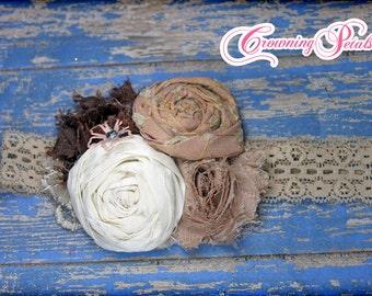 Blush, Brown, Ivory Flower Headband, Tan Hair Accessories, Girls Hair Bow, Mauve Hair Clip, Fabric Flower Brooch, Fabric Flower Hair Piece