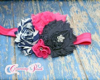 Fuchsia, Navy Baby Headband, Pink Hair Accessory, Navy Blue, Magenta Fabric Flowers Headband, Baby Girls Hair Bow
