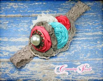 Coral, Turquoise, Brown Hair Clip, Flower Headband, Beige Hair Accessory, Fabric Flower Brooch,  Handmade Hair Bow, Coral Hair Piece,