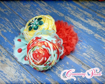 Aqua, Coral, Yellow Hair Piece, Turquoise, Coral Flower Headband, Fabric Flower Hair Bow, Baby Girl Headband, Hair Clip, Baby Photo Prop
