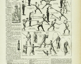 1922 Vintage stick fighting poster sports print fencing poster French wall hanging dictionary page Vintage sports art Vintage sports poster