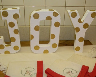 JOY decoration letters  chip board  white gold