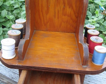 rocking chair rocker thread holder w/ drawer-vintage- wood-1960s cottage style, sewing, sewing decor vintage sewing art collectible country