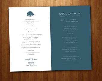 Funeral Program for Memorial Order of Service - PDF Printable