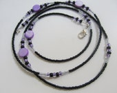 Purple Rain - Purple and Black Shell Waist Beads, High Quality Beading Wire, Sterling Silver Clasp