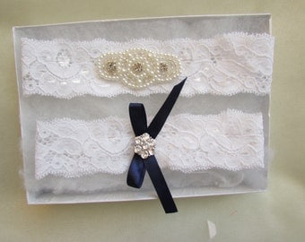 SALE Wedding Garter Set- Crystal Rhinestone on a white Lace
