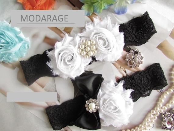 SALE Black Amp White Wedding Garters Lace Garter Bridal