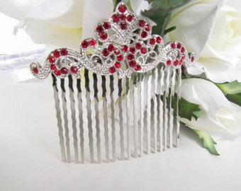 Ruby Red Bridal Hair Comb,Red Bridal Hair Accessories,Red Wedding Hair Comb, Red Crystal Hair Comb, Red Hair Comb
