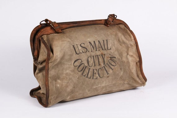 Antique 1920s Mail Bag Canvas & Leather. US Mail City