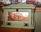 Bread Box, FREE SHIPPING, Shabby, Chic, Punched Copper, Wood, Kitchen, Cottage, Country