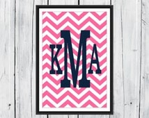 Monogram Chevron Print 11x17 Dorm Decor