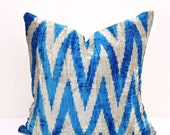 Blue Chevron Velvet Ikat Hand woven, Decorative cushions