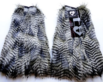 MADE TO ORDER GrAy feather fur classy upscale Fuzzy Leg Warmers fluffy boot covers rave fluffies gogo rave fluffies