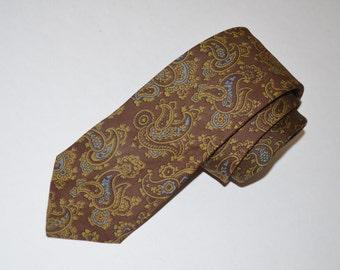 Paisley Tie, Brown Necktie, Talbott Vintage Paisley Silk Necktie, Brown, Olive, and Blue Men's Tie