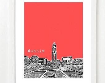 Muncie Indiana Art Print - Muncie Poster - Muncie Skyline Art