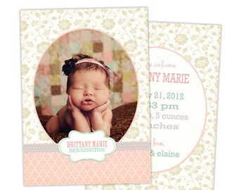 Birth Announcement Template for Photographers Photo Card Template Photography Birth Announcement Photoshop Card Template - BA134