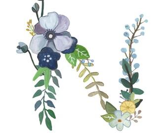 N - Floral Letter Print