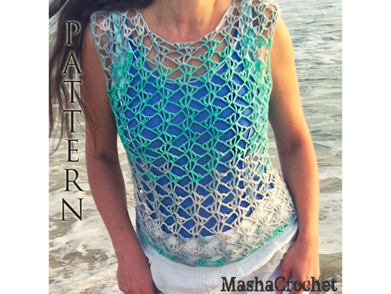 Pattern, Beach cover up crochet pattern. Ombre Lace Crochet tank top ...