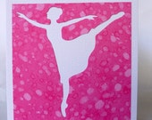 Pink Ballerina, pretty in pink, any occasion, handmade card, pink bubble paper, blank inside