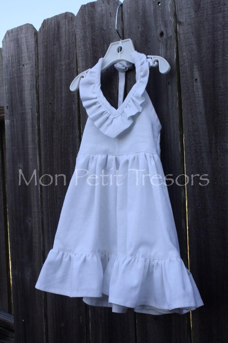 Girls Linen Ruffle Maxi Dress