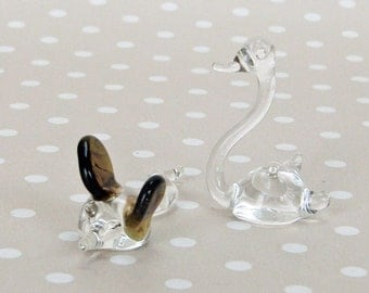 Vintage Retro Cute Miniature Glass Swan and Mouse - Kath