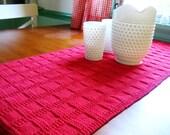 Hand Knit Table Runner   Bright True Red  Windowpane Pattern