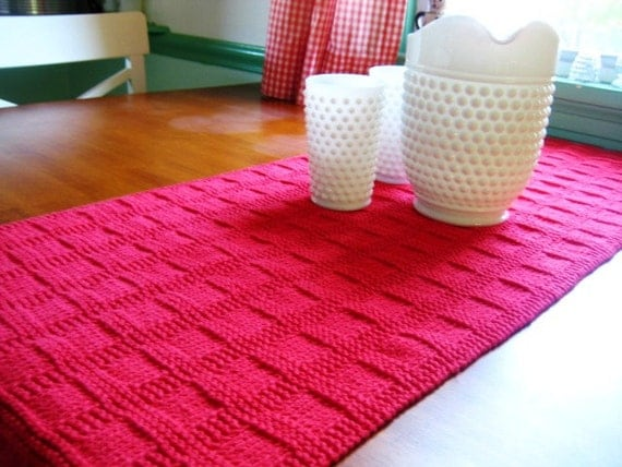 Items Similar To Hand Knit Table Runner Bright True Red