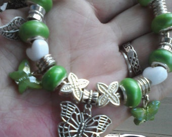 Fly away Butterfly, in shades of green Euro style charm bracelet