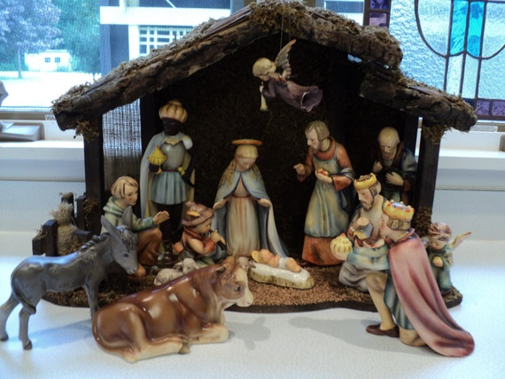 Hummel Nativity Set 214 Full Bee Tmk2 Vintage 16pcs Manger
