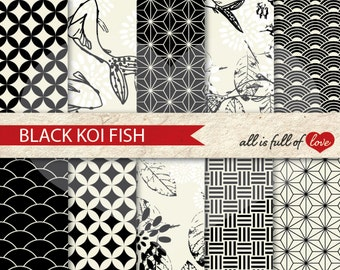 Scrapbook Digital Paper Pack KOI Fish Background Patterns BLACK WHITE Chinese New Year Paper