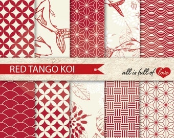 Japanese CLIPART Marsala Red Digital Background Patterns Oriental Graphics Chinese New Year Paper Koi Fish