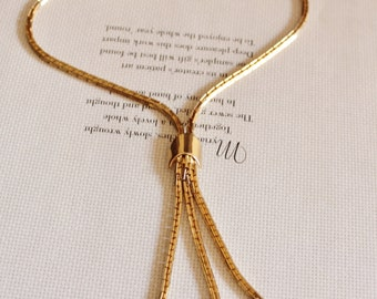 Vintage Gold Necklace, Tie Necklace, Gold Chain Necklace