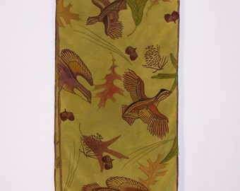 Hand dyed Silk Scarf, Quail with Pine Cones, Leaves and Acorns on Olive Green Crepe de Chine, Hand-painted