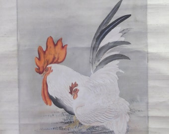 19th Century Japanese Rooster & Hen Silk  Wall Hanging