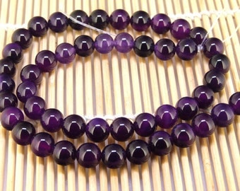 "Full One Strand Round Purple Agate Beads ----- 8mm ----- about 47Pieces ----- gemstone beads--- 15"" in length"