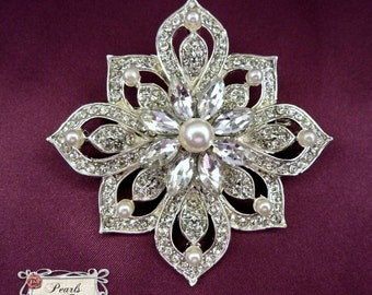 1 Ex-Large Crystal OR Pearl Rhinestone SILVER or GOLD Square Brooch Embellishment Brooches Bouquet Sash Wedding Dress