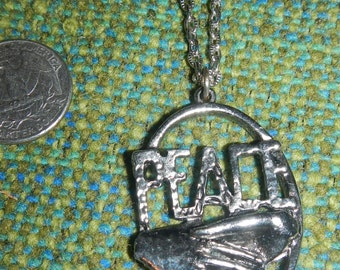 Sale! Cool Silver Tone Peace Handshake Necklace