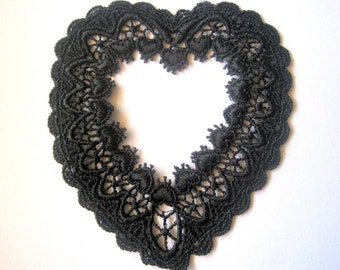 Venice Lace Heart Applique Frame, Black, 3 3/4 x 4 1/2 inch, x 1, For Scrapbook, Apparel, Accessories, Mixed Media, Victorian Crafts