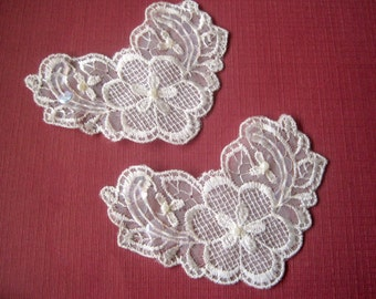 Embellished Sequin Beaded Applique, Ivory, x 2, For Bridal, Romantic, Victorian Projects